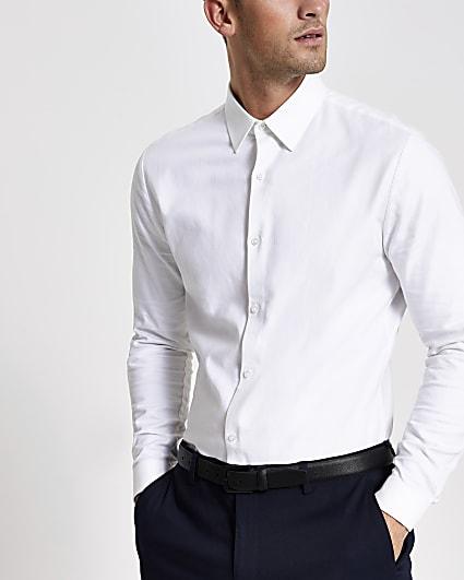 White textured slim fit long sleeve shirt