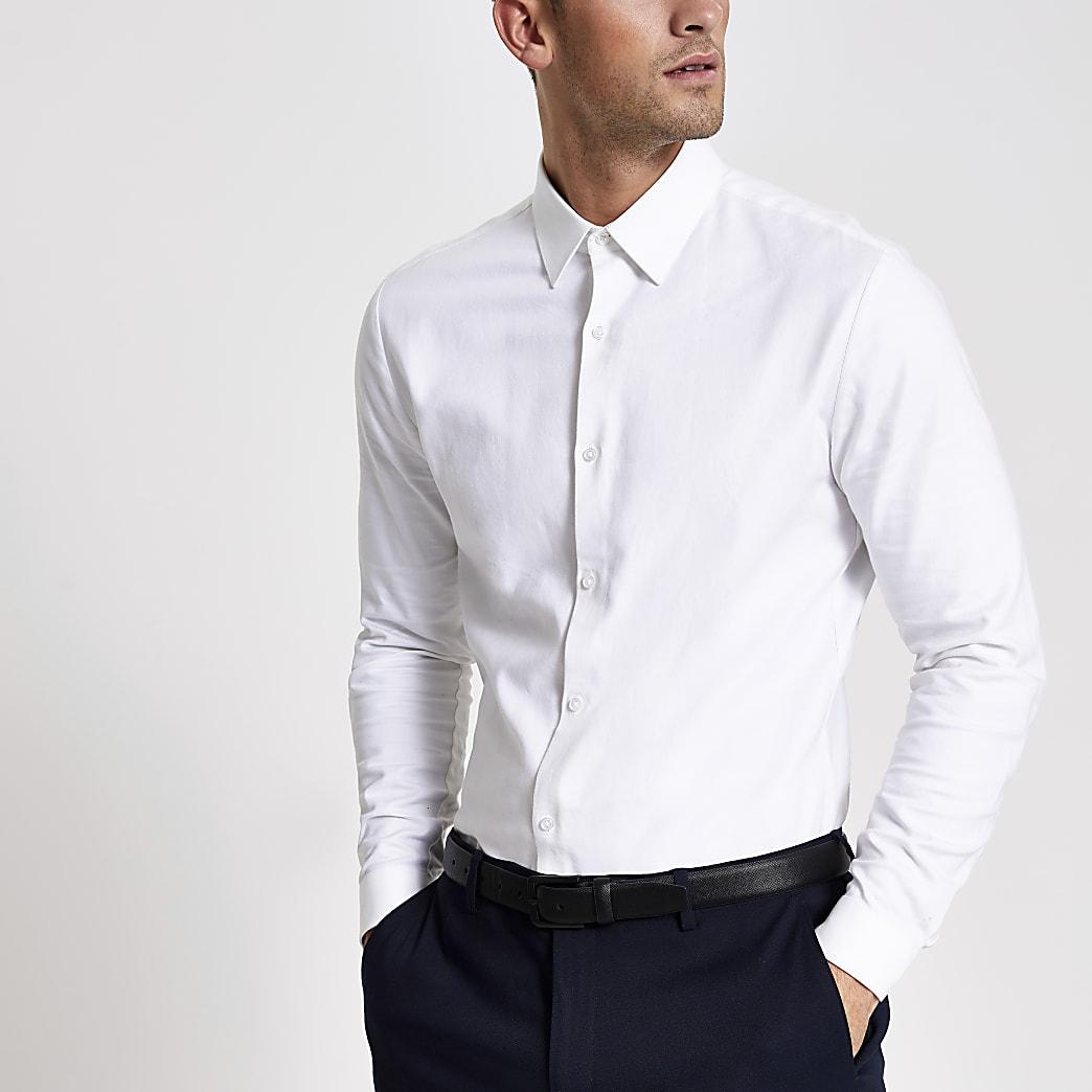 Wit slim-fit overhemd met textuur en lange mouwen