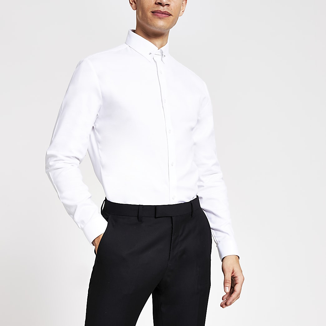 White textured slim fit pin collar shirt