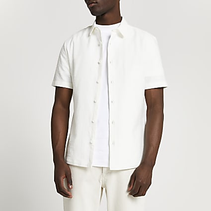 White textured slim fit short sleeve shirt