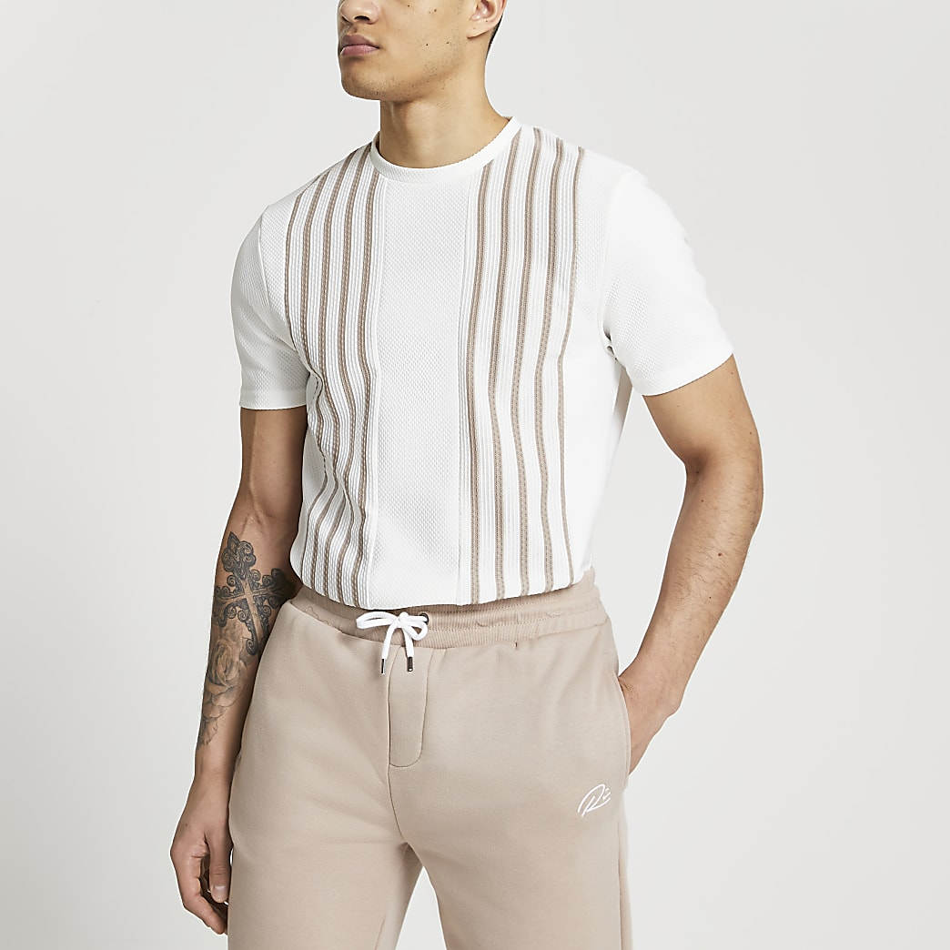 White textured stripe slim fit t-shirt