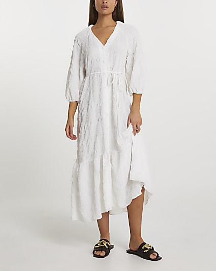 White textured tie waist maxi dress