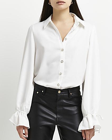 White tie cuff shirt