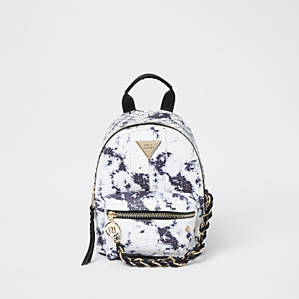 White tie dye chain backpack