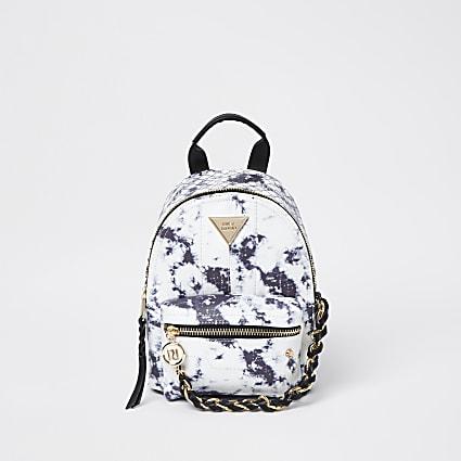 White tie dye chain backpack