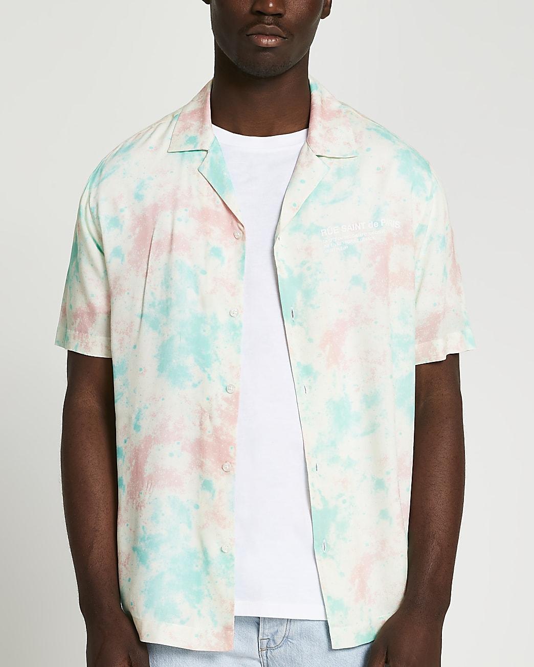 White tie dye print shirt