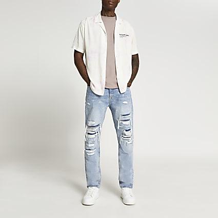 White tie dye revere short sleeve shirt
