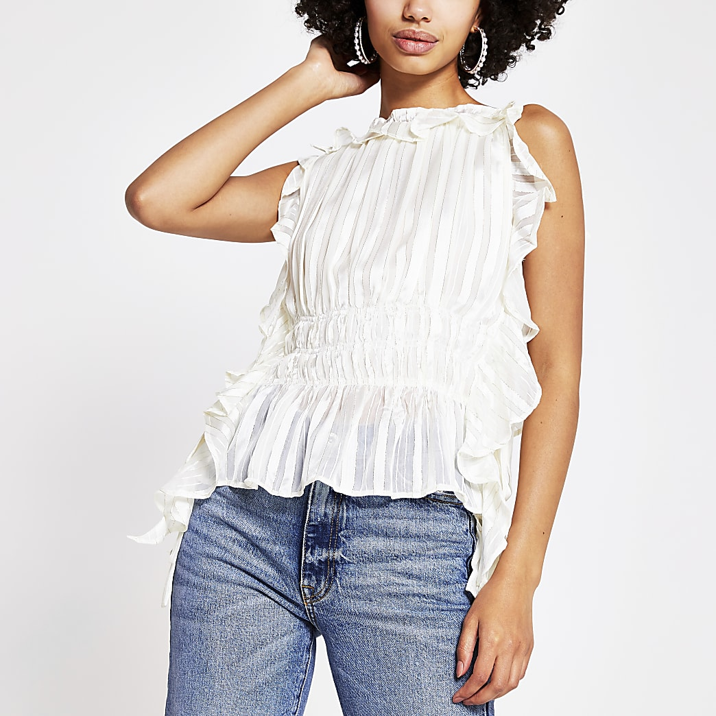 White tie side waisted blouse