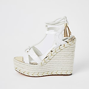 White tie up open toe wedge
