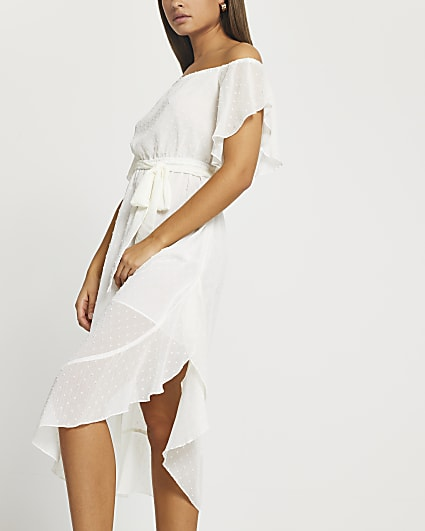 White tie waist bardot maxi dress
