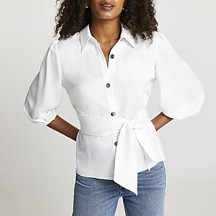 White tie waist collared shirt