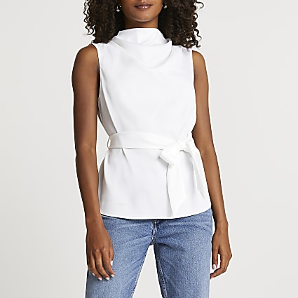 White tie waist detail sleeveless top