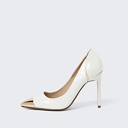 White toe cap court high heel shoe