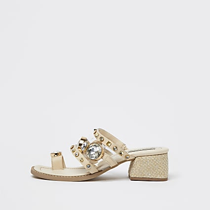 White toe loop block heel sandals