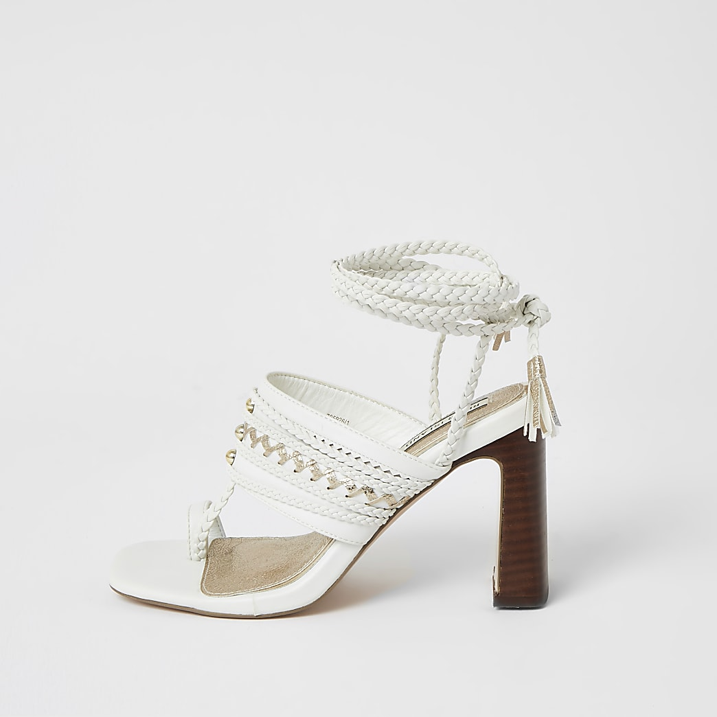 White toe loop plaited lace-up ankle heels