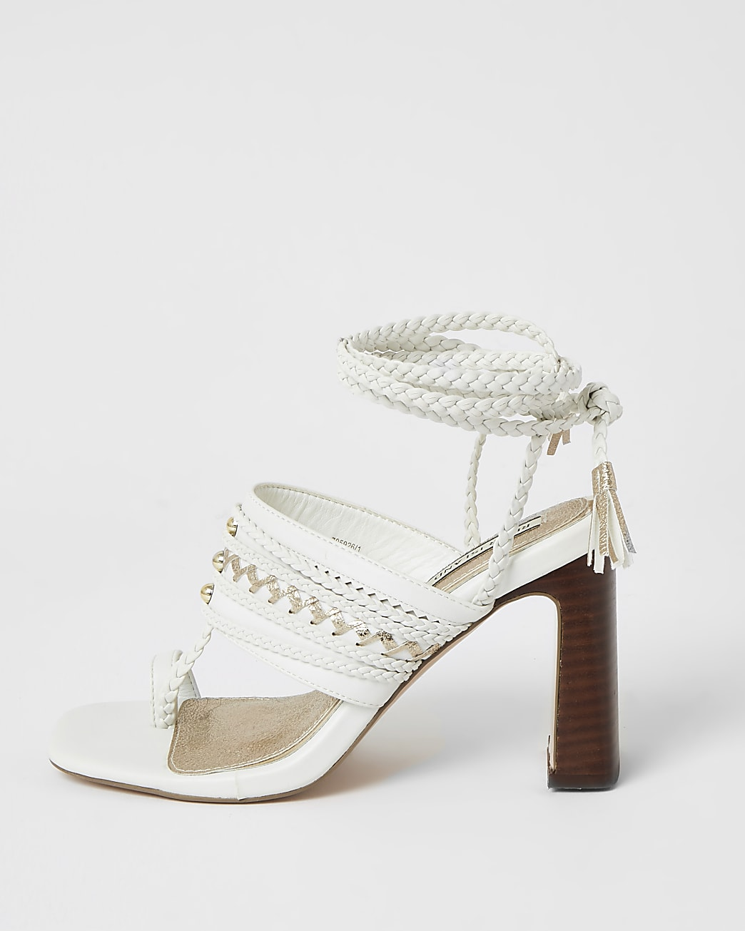 White toe loop plaited lace-up high heels