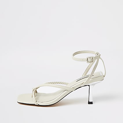White toe post mid heel sandals