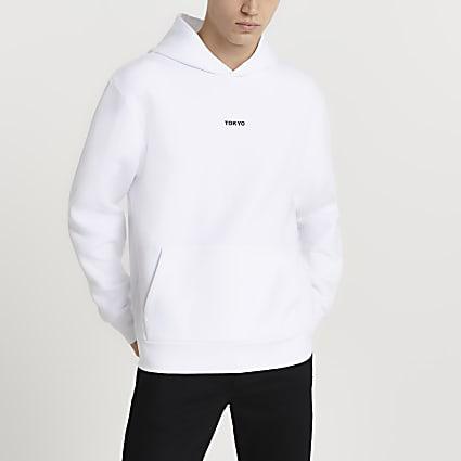 White Tokyo print hoodie