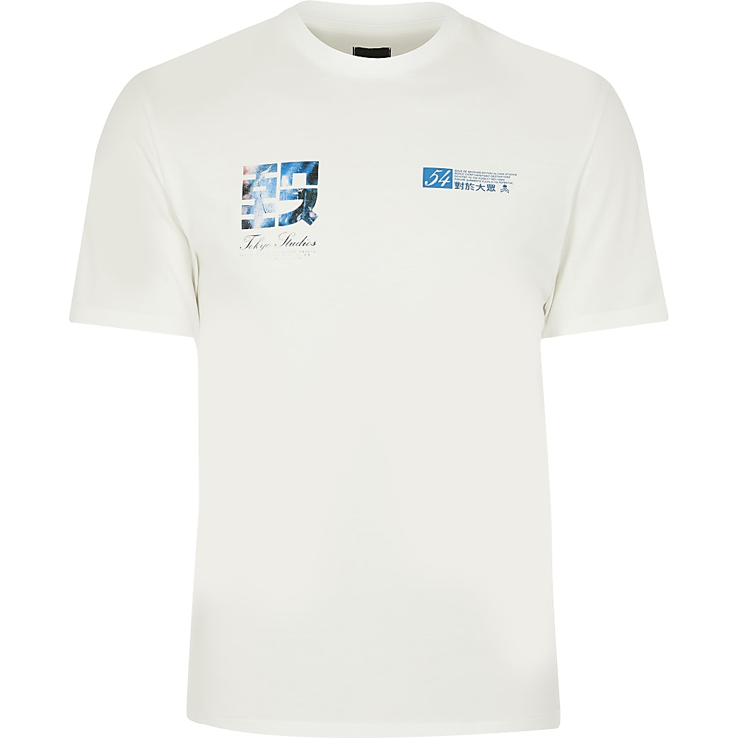 White Tokyo print short sleeve t-shirt