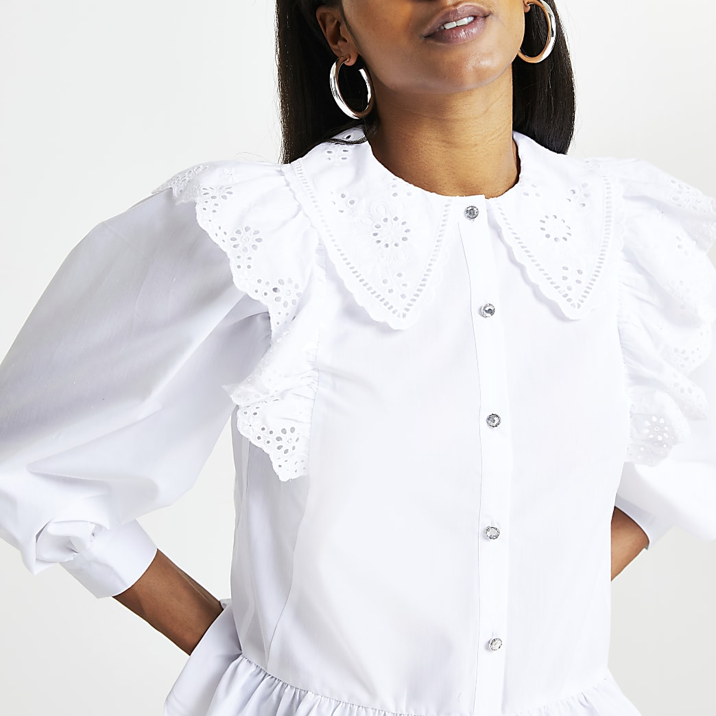 White trim collar peplum shirt