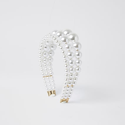 White triple row pearl headband