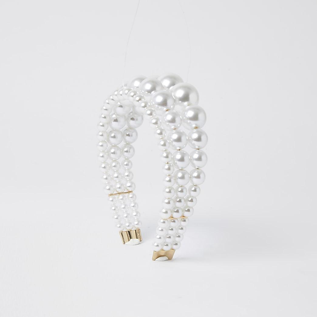 White triple row pearl headband