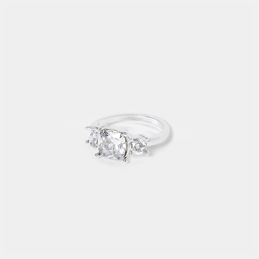 White Triple Stone Engagement Ring