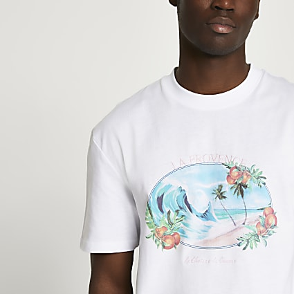 White tropic beach t-shirt