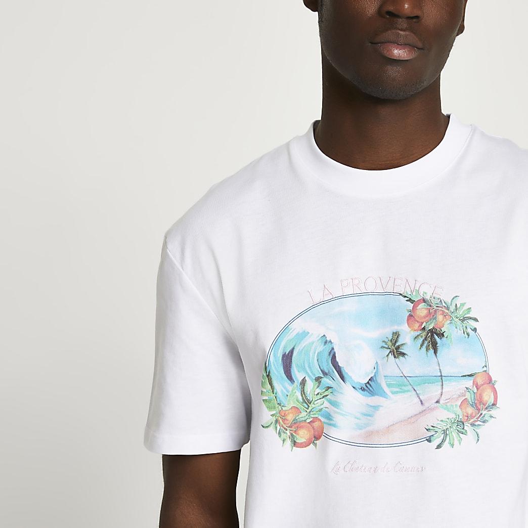 White tropic beach t-shirt
