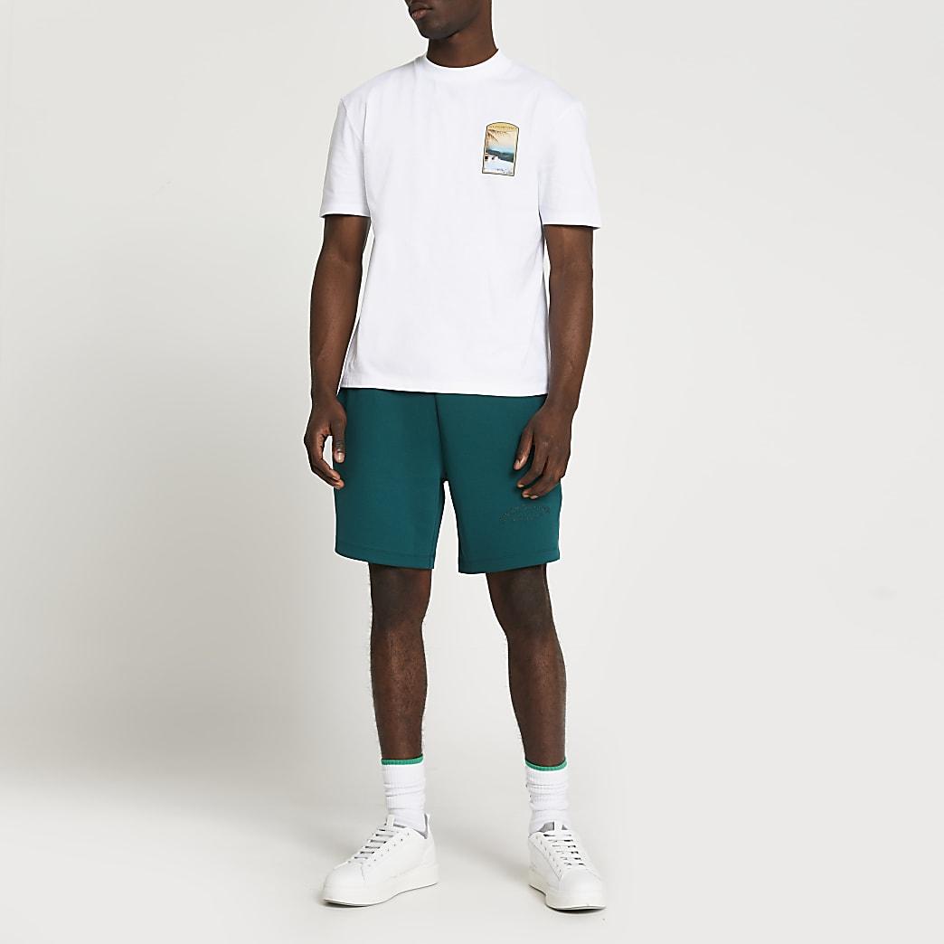 White tropic graphic t-shirt