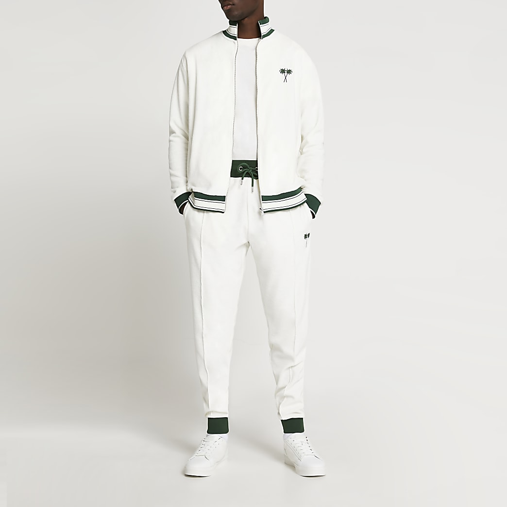 White tropic towelling slim fit joggers