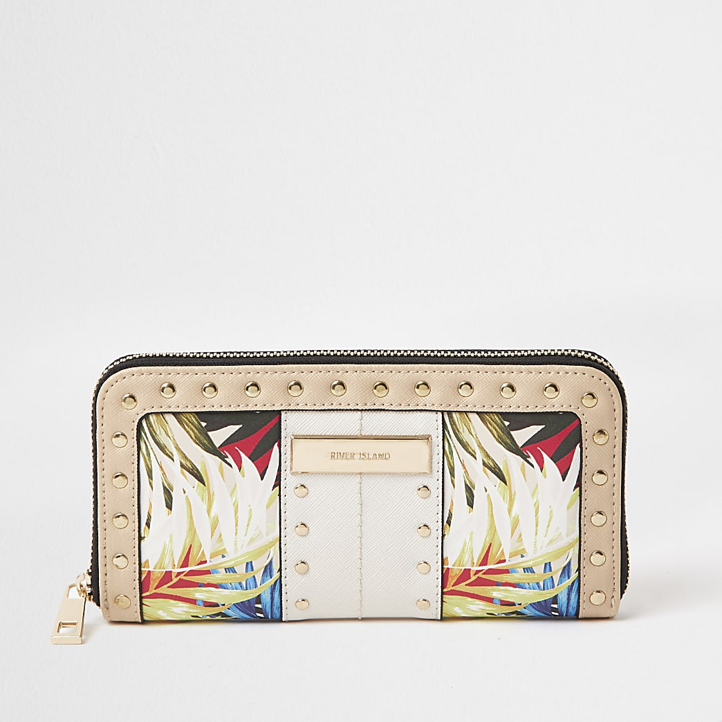 White tropical print zip around purse