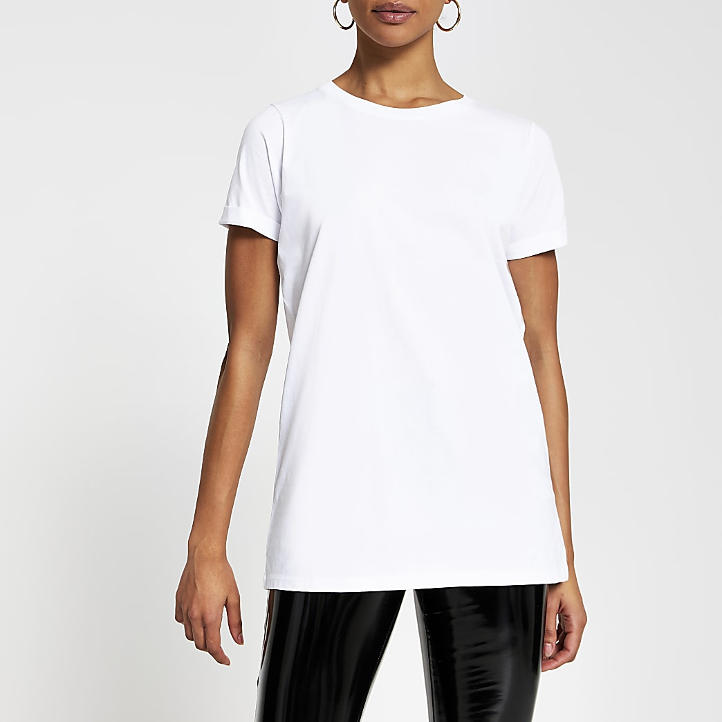 White turn back short sleeve t-shirt