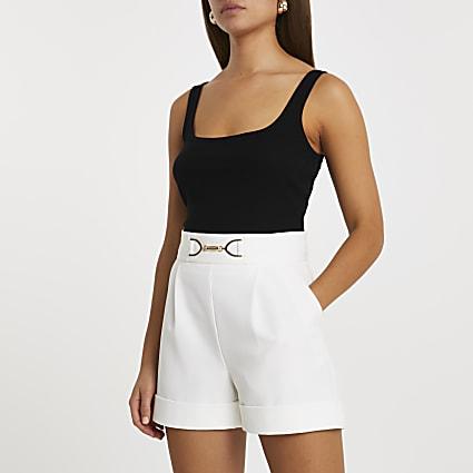 White turn up hem shorts