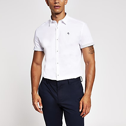 White turn up short sleeve slim fit shirt