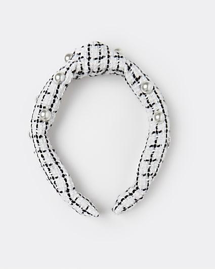 White tweed pearl headband