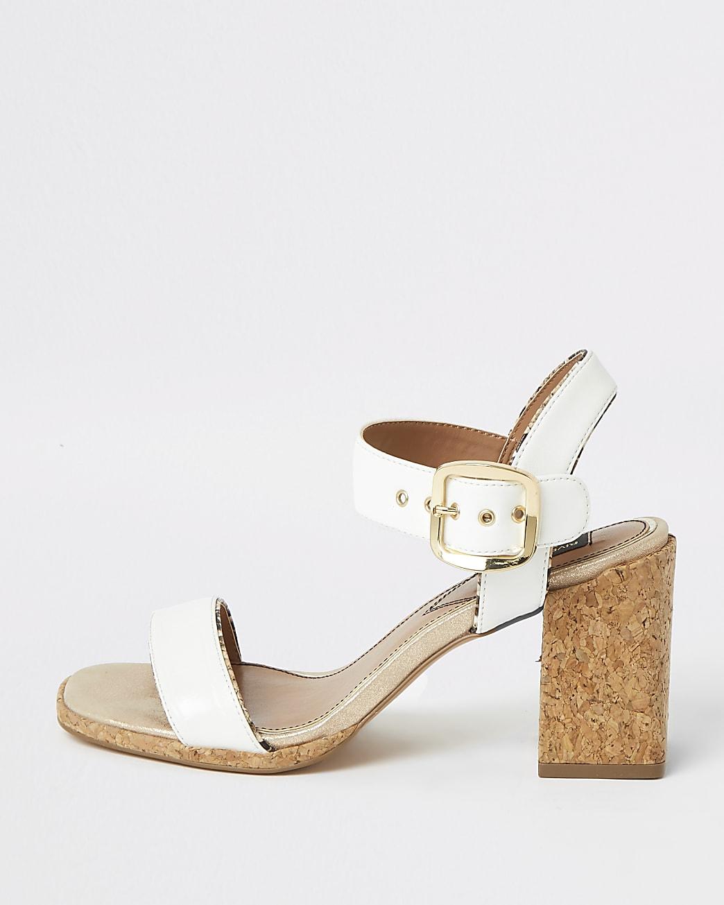 White two part cork block heeled sandal