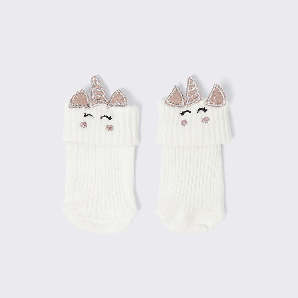 White unicorn socks
