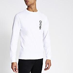 Wit slim-fit T-shirt met lange mouwen en 'Unknwn States'-print