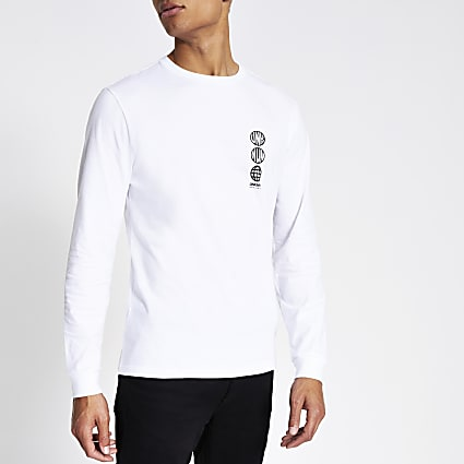 White 'Unknwn' long sleeve slim fit T-shirt