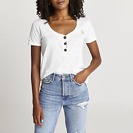White v-neck button t-shirt
