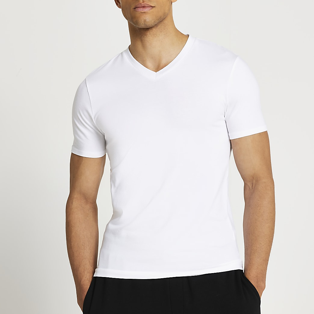 White v neck muscle fit t-shirt