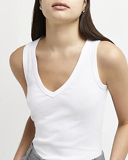 White v-neck vest top