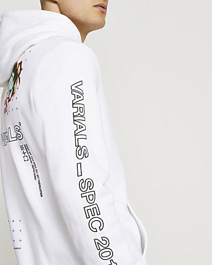 White Varials rose graphic hoodie
