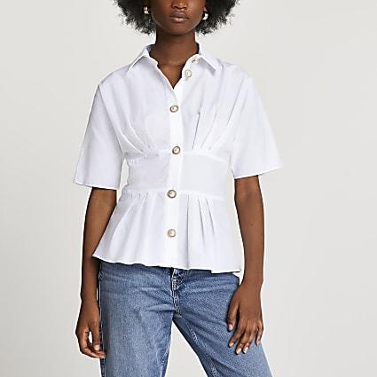 White waisted peplum short sleeve shirt