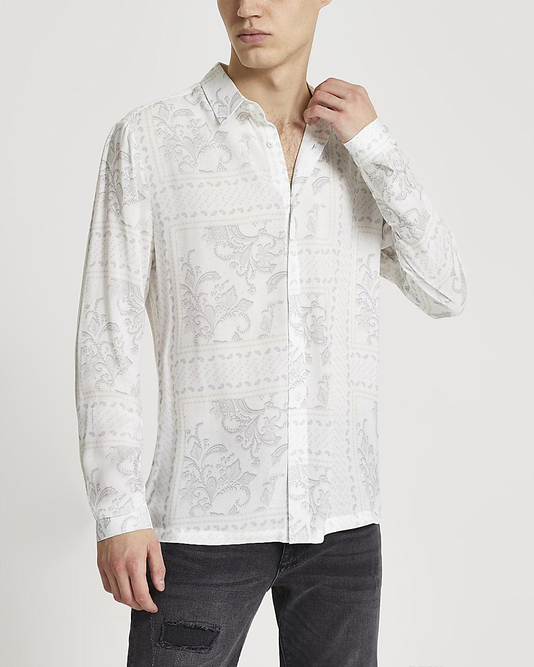 White washed paisley print long sleeve shirt