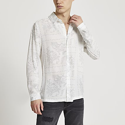 White washed paisley print long sleeve shirt