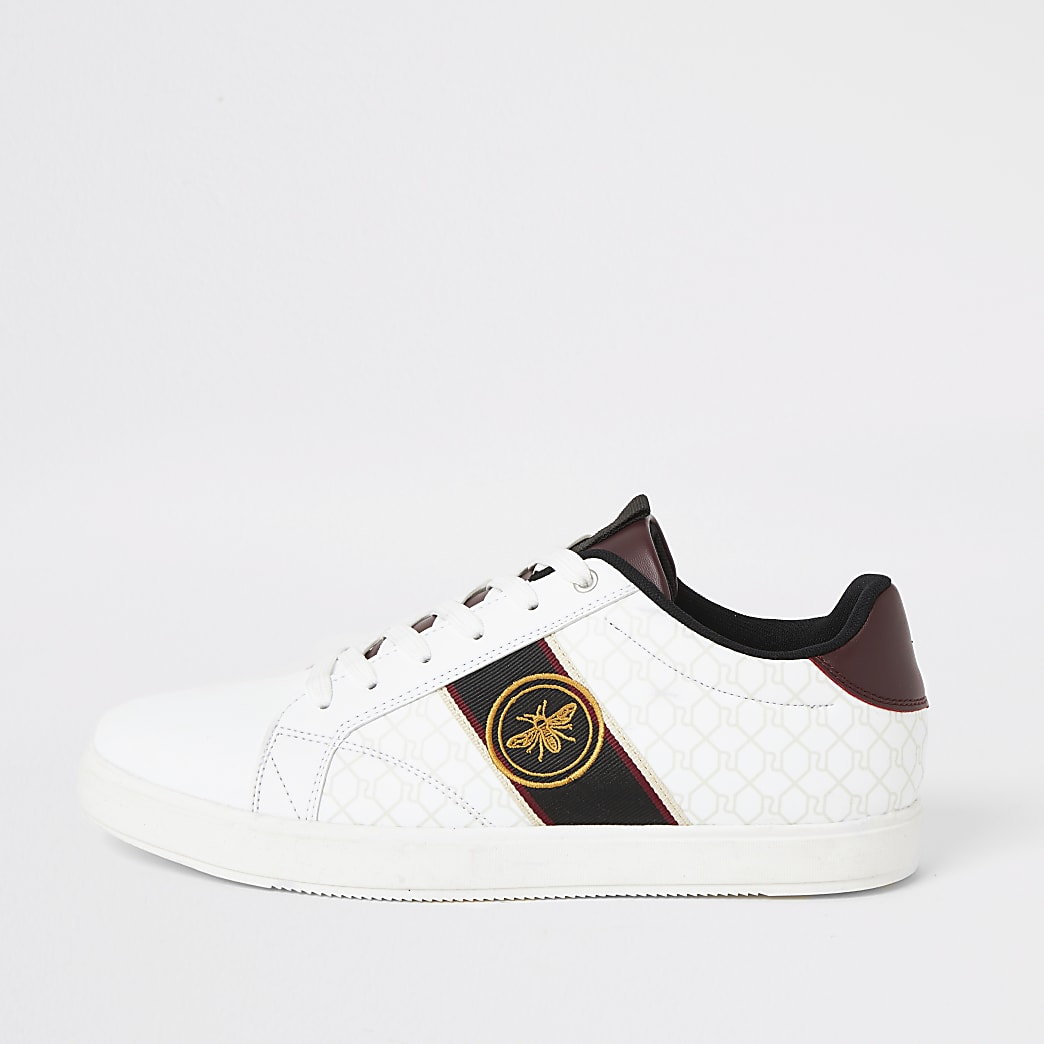 White wasp embroidered RI lace-up trainers