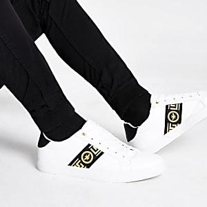Weiße Sneaker zum Schnüren mit Wespen-verziertem Streifen