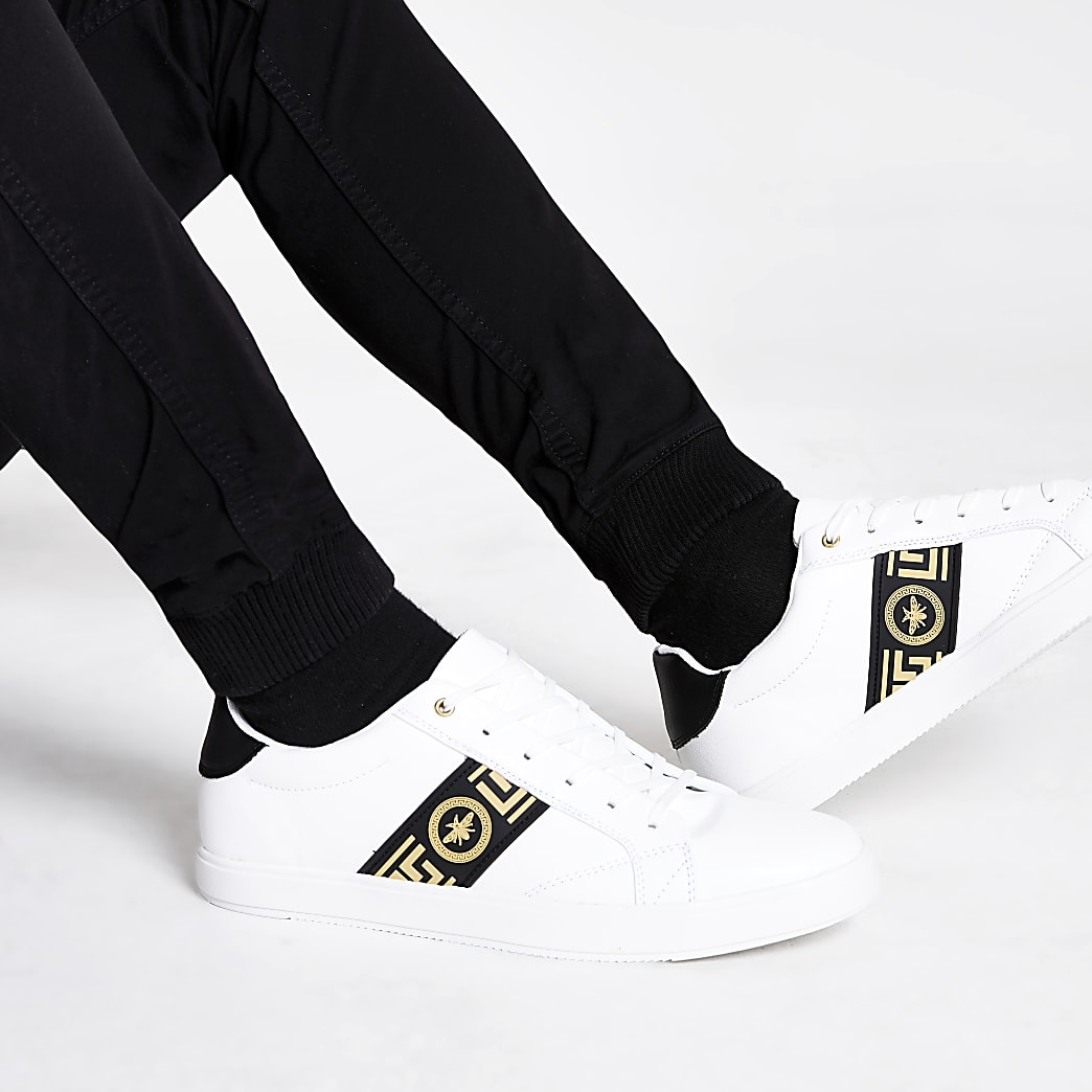 White wasp tape lace-up trainers